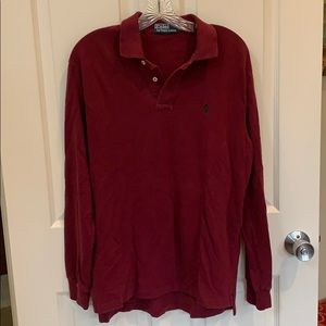 Deep Red Long Sleeved Polo  Shirt